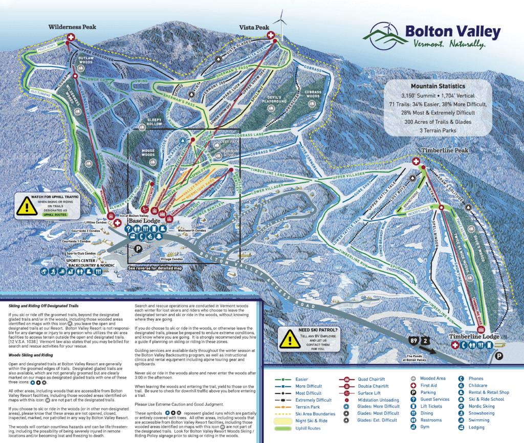 Alpine Trail Map Bolton Valley 19-20