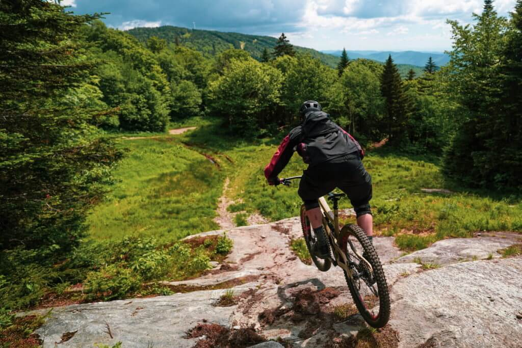 Mountain biking at Bolton Valley in Vermont in the Woods