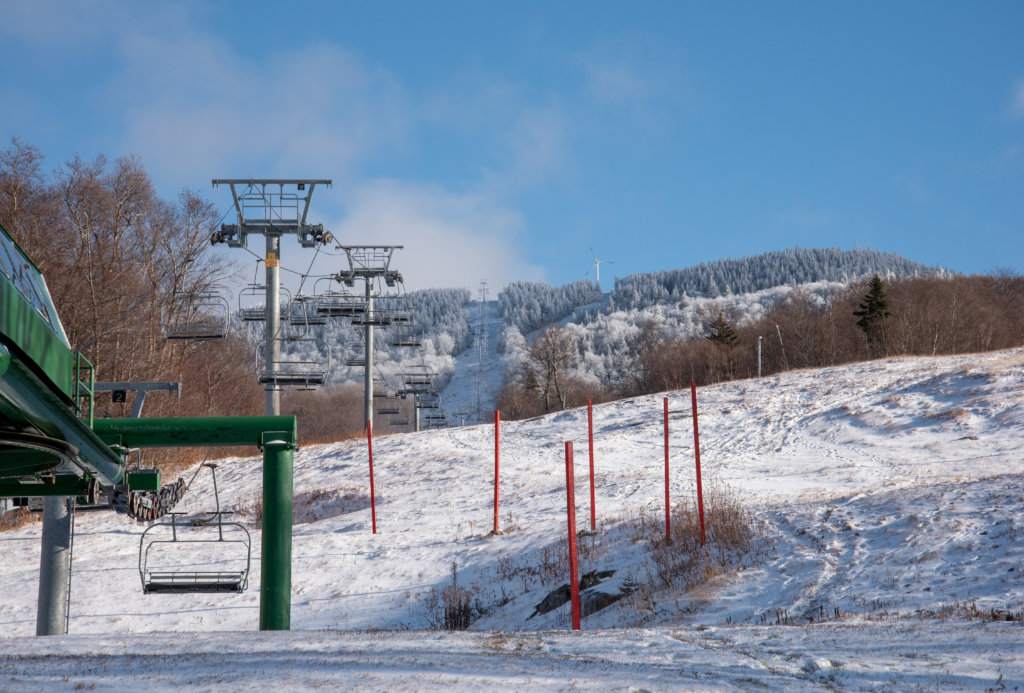 A Beautiful Day on the Mountain Looking Up Past Vista Lift from the Main Base Area
